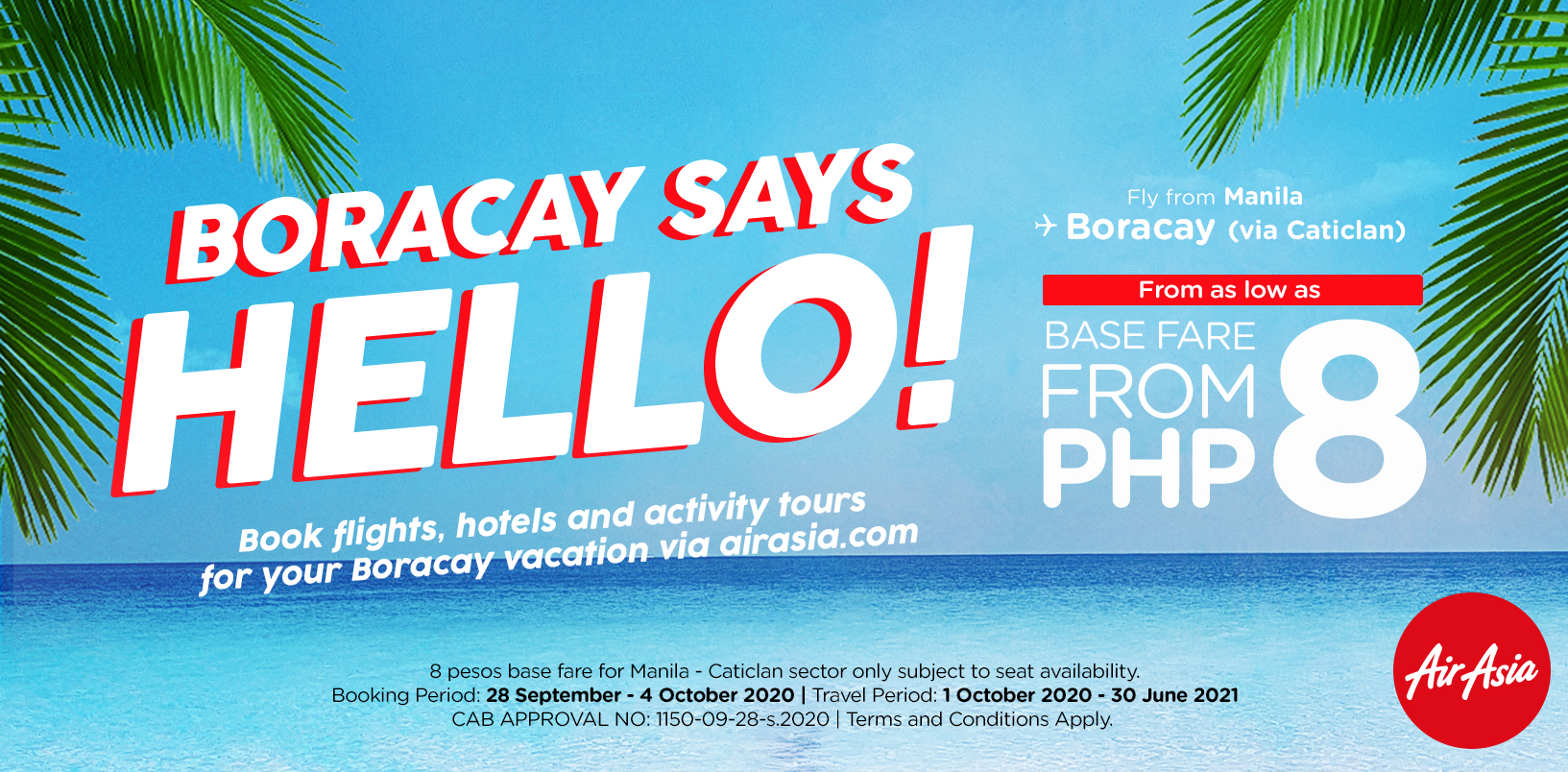AirAsia supports the reopening of Boracay, offers unbeatable deals for as low as P8