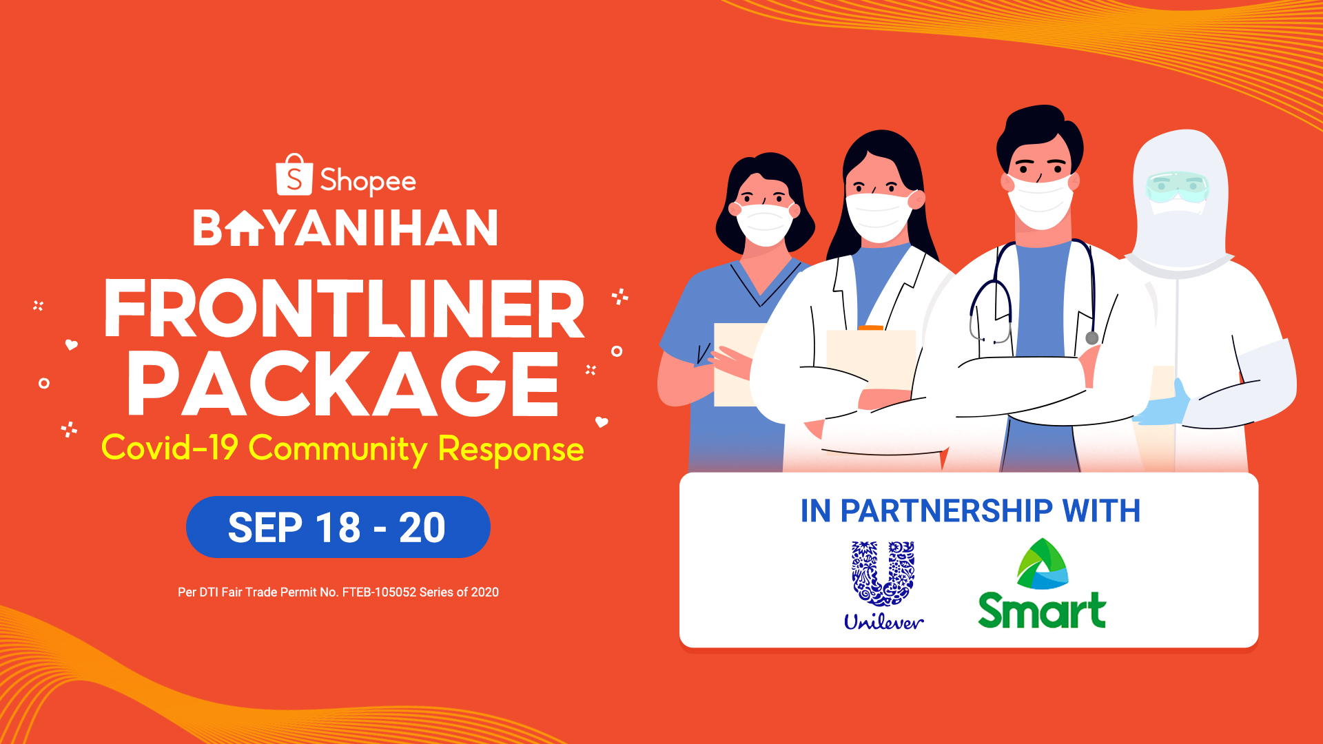 From September 18 to 20, frontliners can receive Shopee discount vouchers, mobile load, and data from Smart and Unilever's brand vouchers