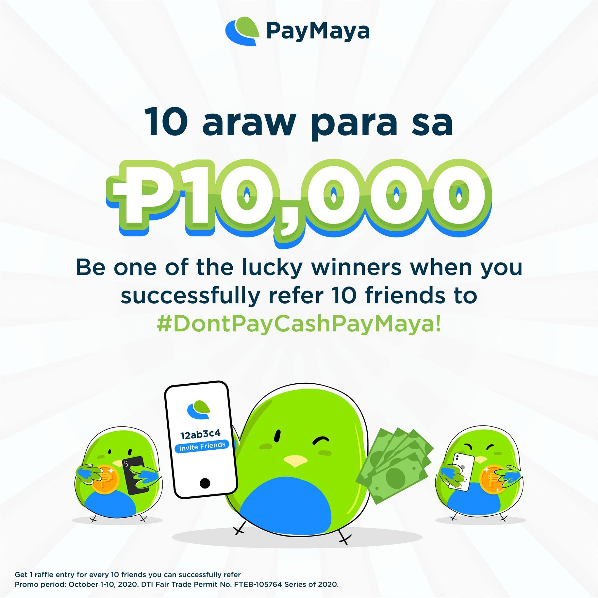 Register with PayMaya and earn a chance to win P10,000 this 10.10