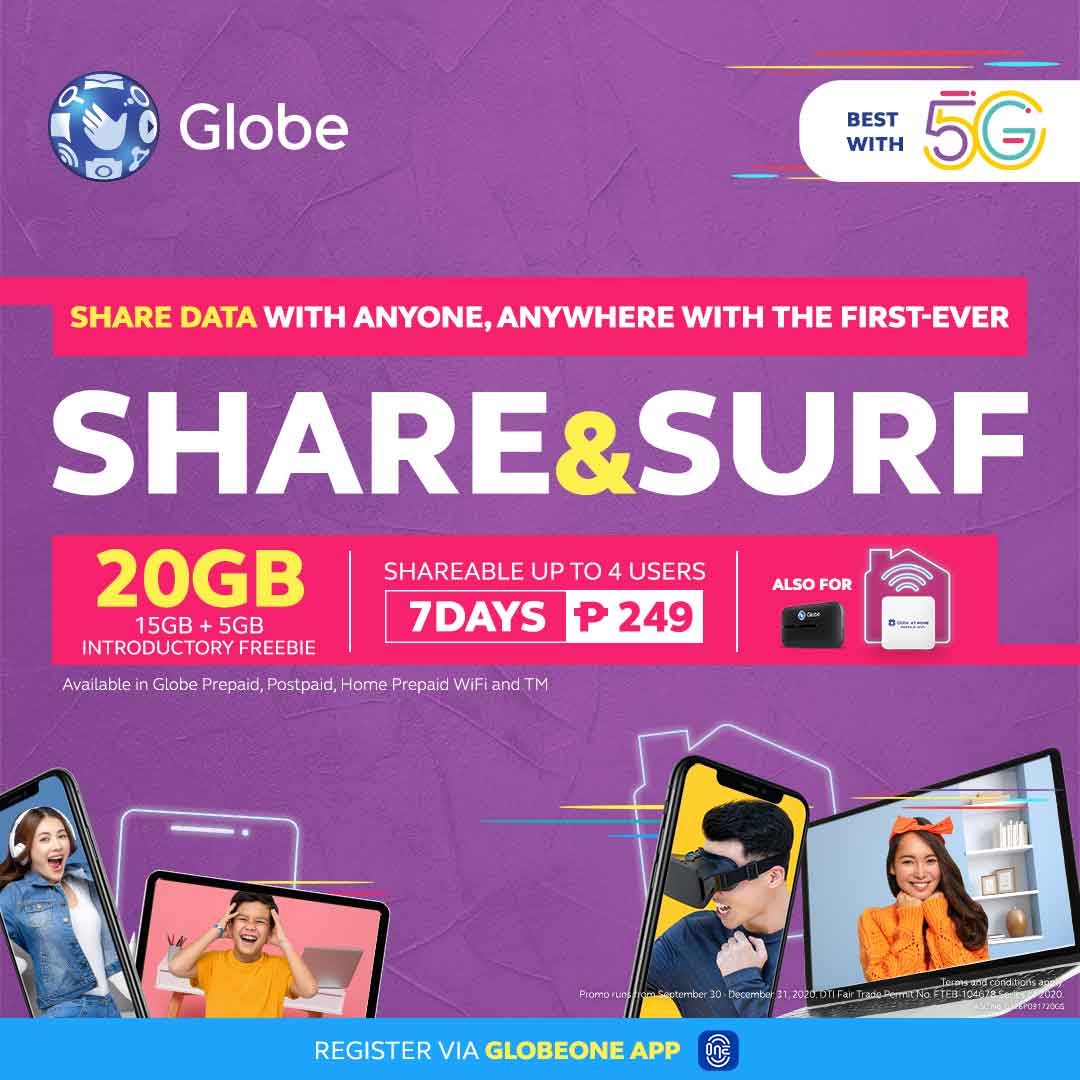 Globe launches first-ever shareable data promo with SHARE&SURF249