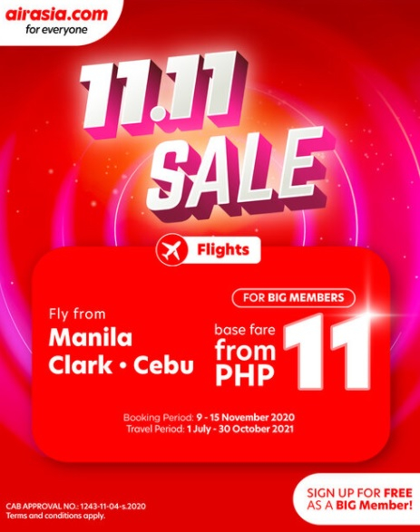 AirAsia kicks off 11.11 Sale with P11 base fare deals