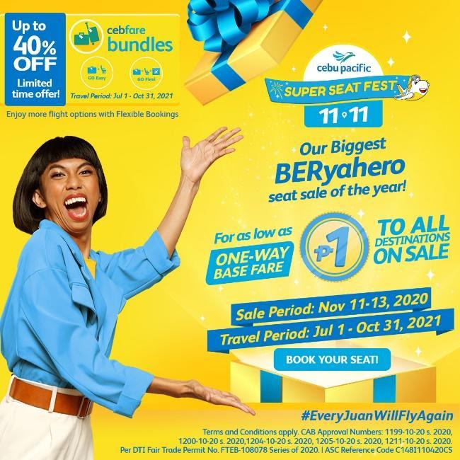 Unbox the gift of P1SO fare flights with Cebu Pacific's biggest BERyahero seat sale