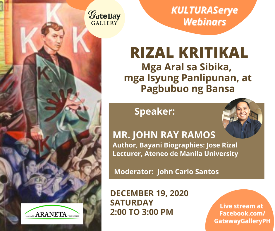 Araneta City and Gateway Gallery's KulturaSerye Returns with a Webinar on Rizal