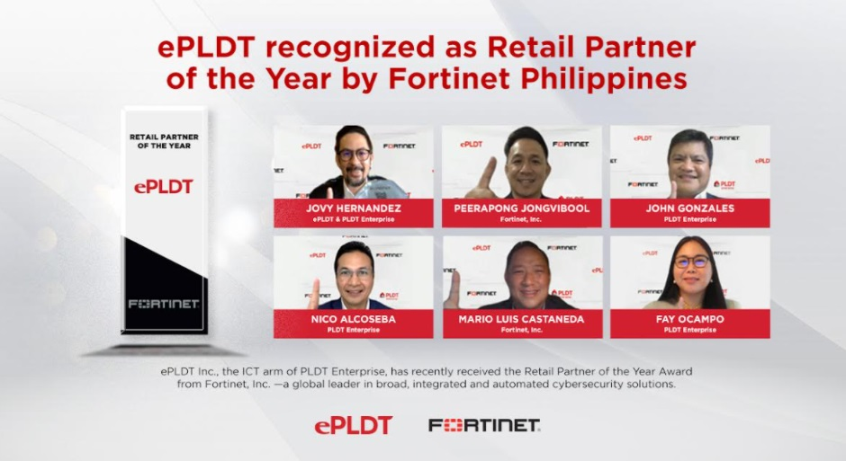 ePLDT recognized as Retail Partner of the Year by Fortinet Philippines
