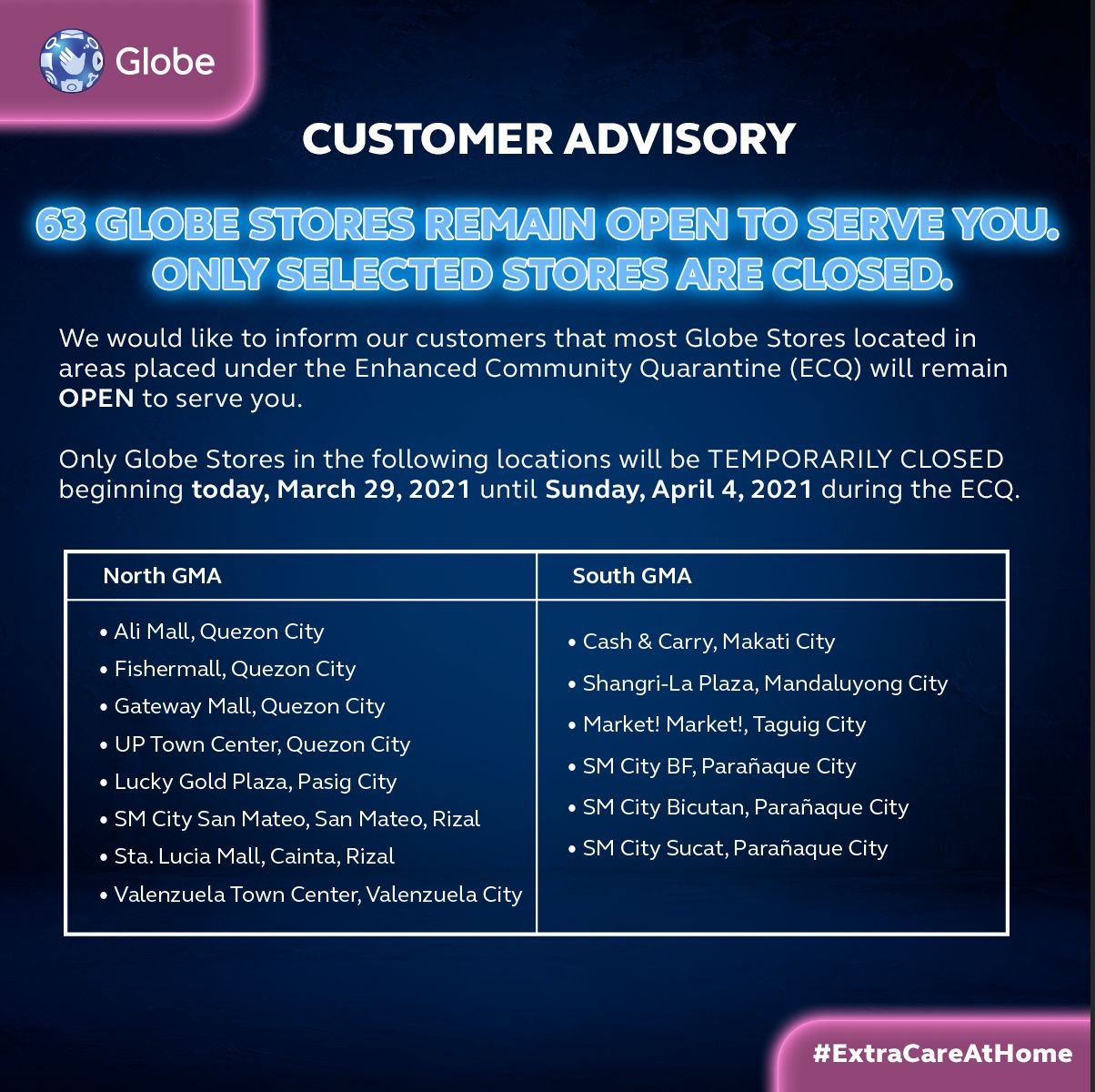 #ExtraCareAtHome: Globe continues service support to customers as NCR and other areas placed under ECQ