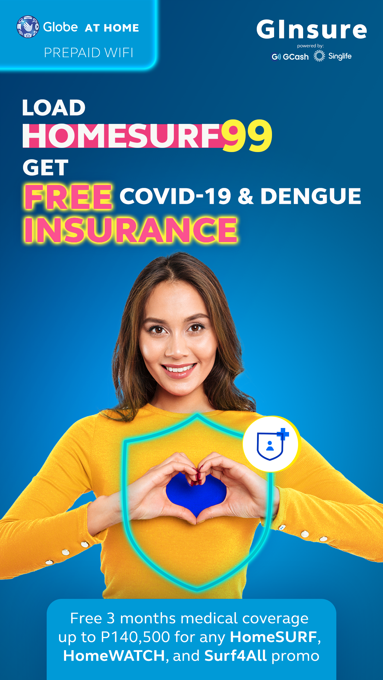 #ExtraCareAtHome: Free medical insurance against Covid with Globe At Home, GCash and Singlife