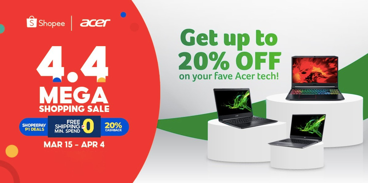 Top Acer products goes on sale with 20% off at Shopee 3.3-4.4 Mega Shopping Day