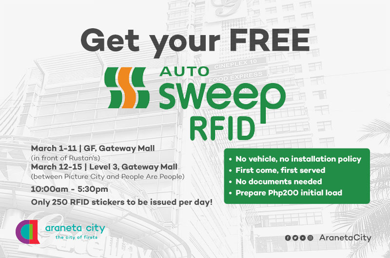 Araneta City extends free AutoSweep RFID installation until March 15
