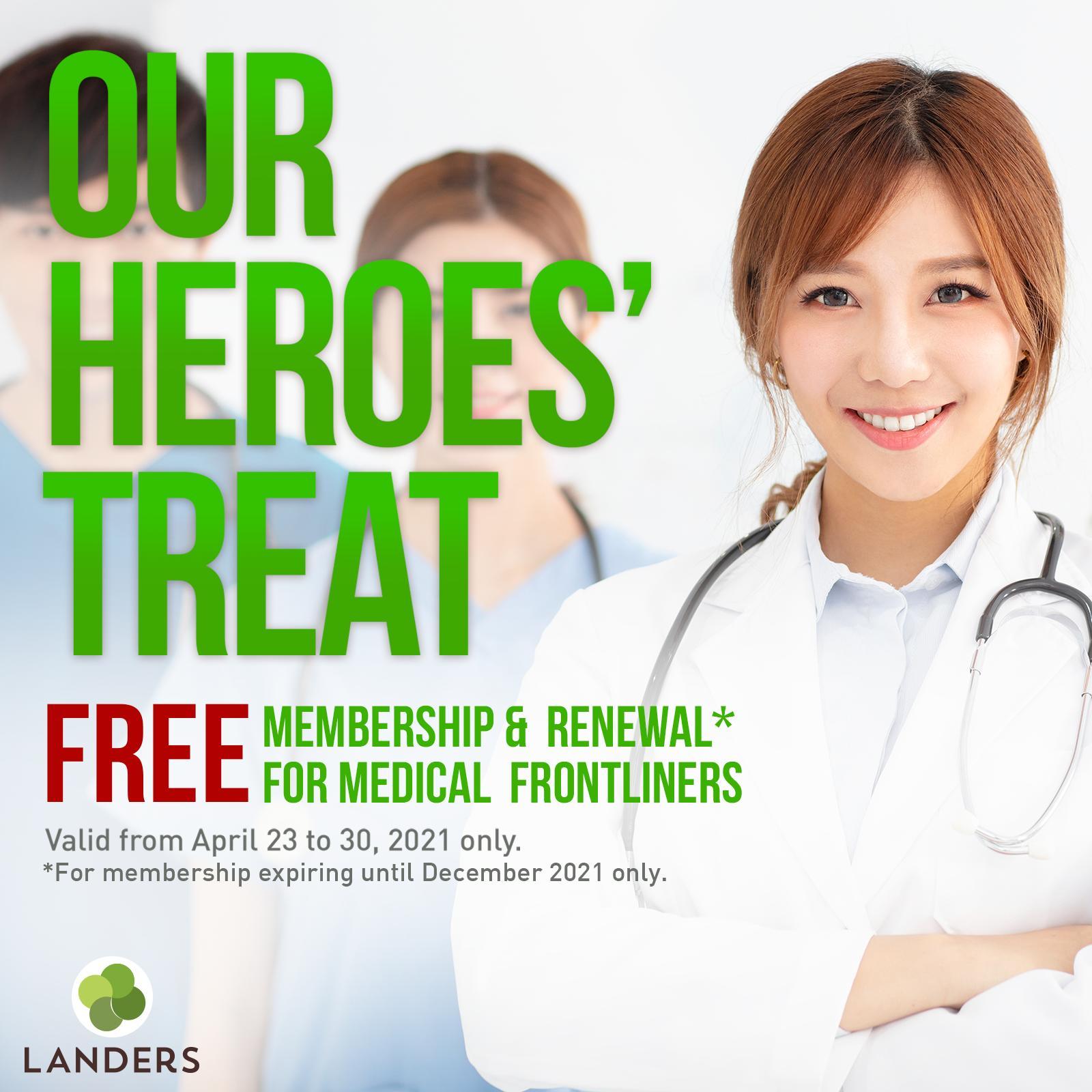 Medical frontliners entitled to free Landers membership and renewal