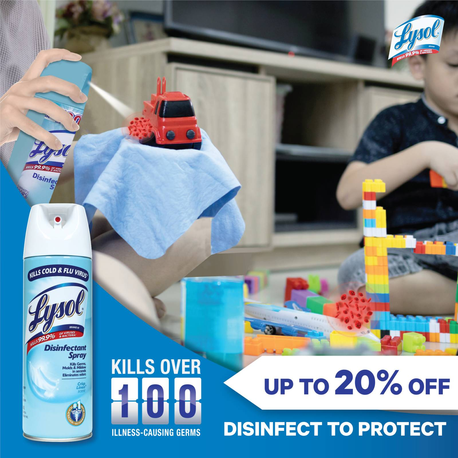 Discounts and generous rebates on Lysol Disinfectant Spray and Multi Action Cleaners in Shopee's 5.5 Sale