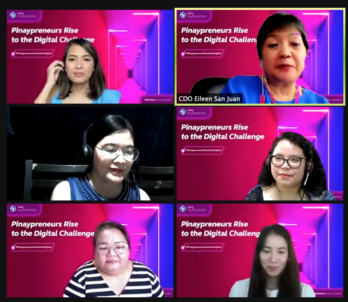 """Women at the helm of successful businesses honored at Globe's """"Pinaypreneurs Rise to the Digital Challenge"""" webinar: (clockwise from top left) Webinar Host Sonjia Calit, Cagayan De Oro Trade and Investment Promotion Center Local Economic and Investment Promotion Officer Eileen San Juan, Tagbilaran TIDU OIC City Administrator Cathelyn Torremocha,, trip and Browhaus Managing Director Roberta Abad-Estacion, Masuki Restaurant CEO and President Willen Ma, and City Economic Management and Cooperative Development office GenSan CEMCDO Project Dev Officer Adelyn Yucamco"""