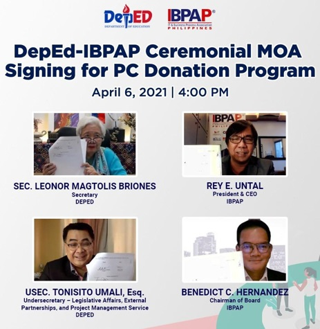 DepEd and IBPAP sign Partnership on PC donation program