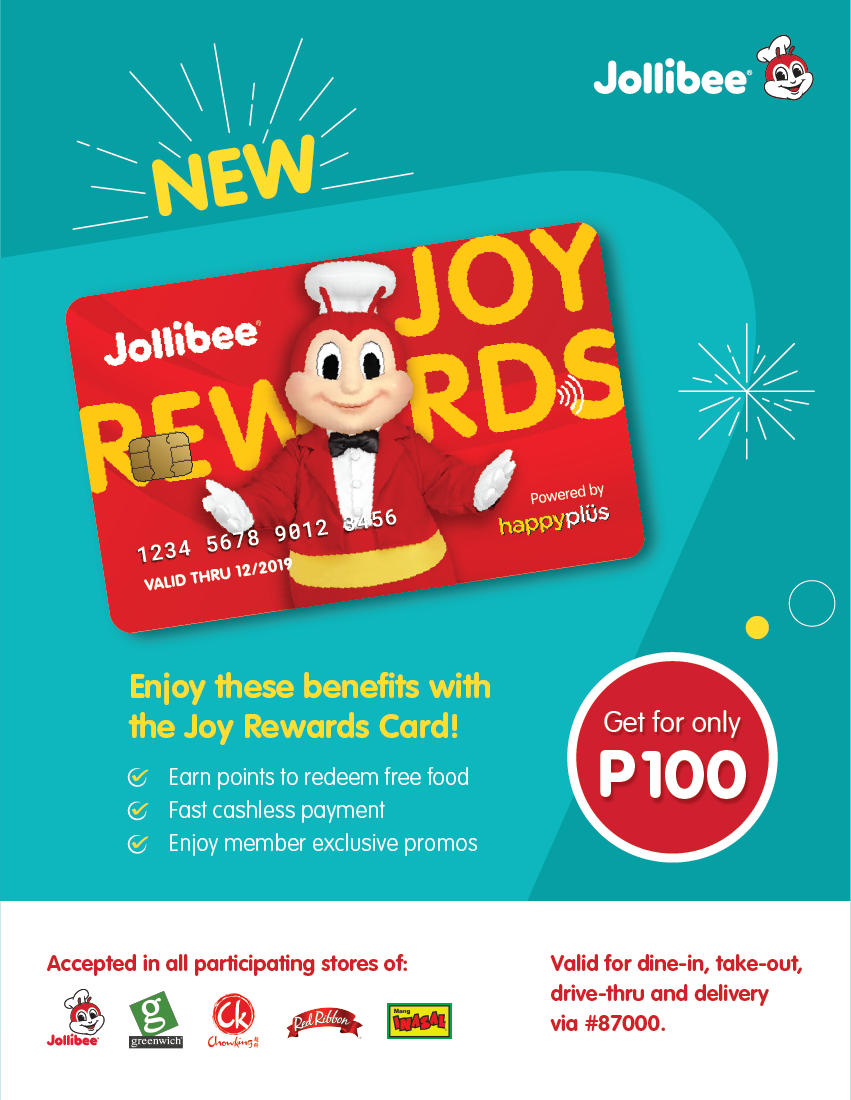 Have a joyful and rewarding experience with Jollibee's new Joy Rewards card!